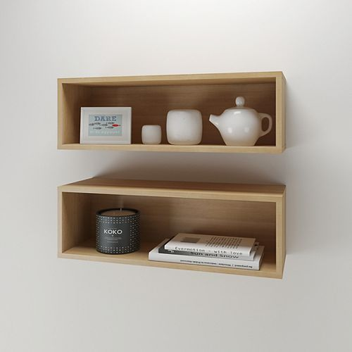 Nexera Rectangular Floating Wall Shelves in Natural Maple (Set of 2)