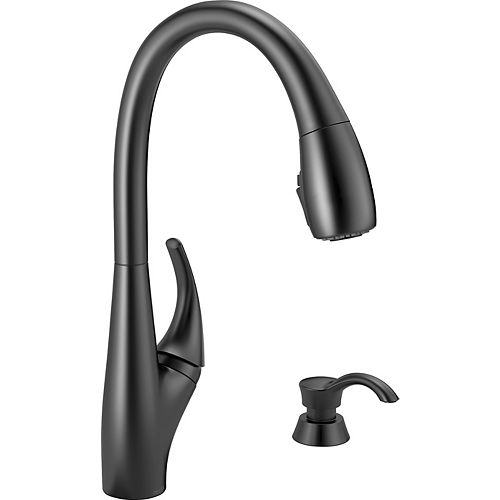 Deluca Single Handle Pull-Down Kitchen Faucet with Soap Dispenser and ShieldSpray in Matte Black
