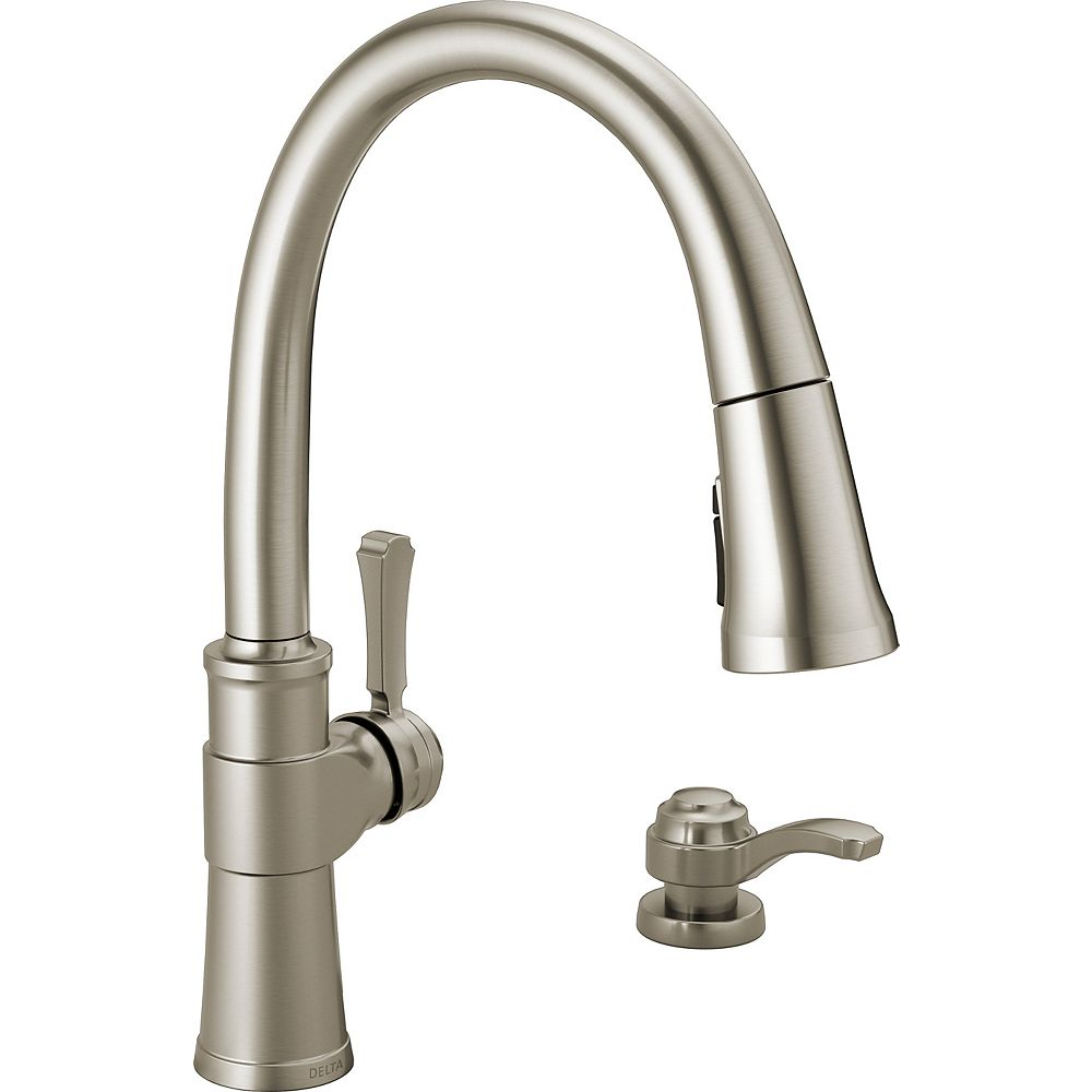 Delta Spargo Pull-Down Kitchen Faucet with Soap Dispenser and ShieldSpray, SpotShield Stainless