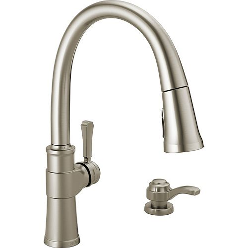 Spargo Pull-Down Kitchen Faucet with Soap Dispenser and ShieldSpray, SpotShield Stainless