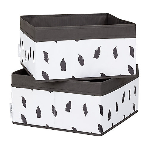 Storit White/Grey Baskets Feathers Print (2-Pack)