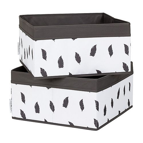 South Shore Storit White/Grey Baskets Feathers Print (2-Pack)