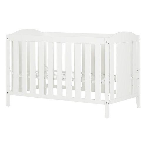 Lit de bébé avec barrière de transition Reevo, Blanc solide