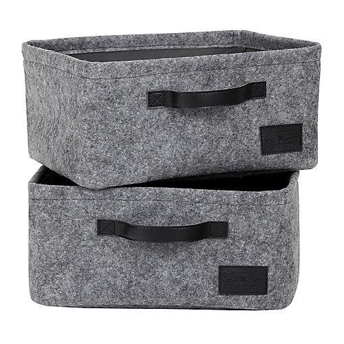 Storit Gray Small Woven Felt Baskets, (2-Pack)