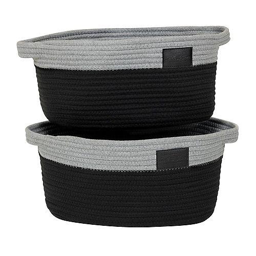 Storit Gray and Black Knit Baskets, (2-Pack)