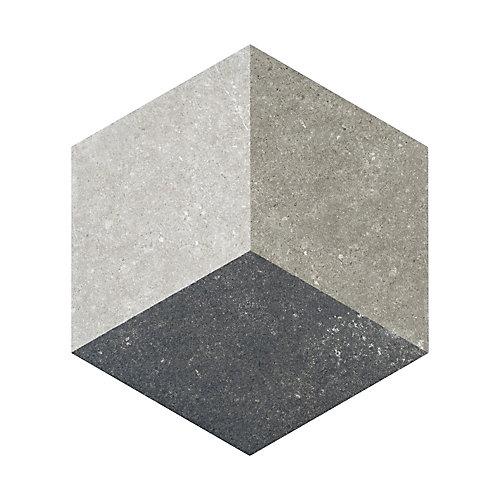 Carreau en porcelaine pour sol/mur Traffic Hex 3D gris 8 5/8 po x 9 7/8 po (11,56 pi2/boîte)