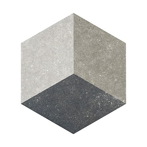 Traffic Hex 3D Grey 8-5/8-inch x 9-7/8-inch Porcelain Floor and Wall Tile (11.56 sq. ft. / case)