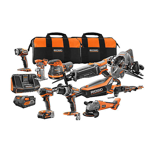 18V Cordless 10-Piece Combo Kit with (1) 4.0 Ah Battery and (1) 2.0 Ah Battery, Charger, and Bag
