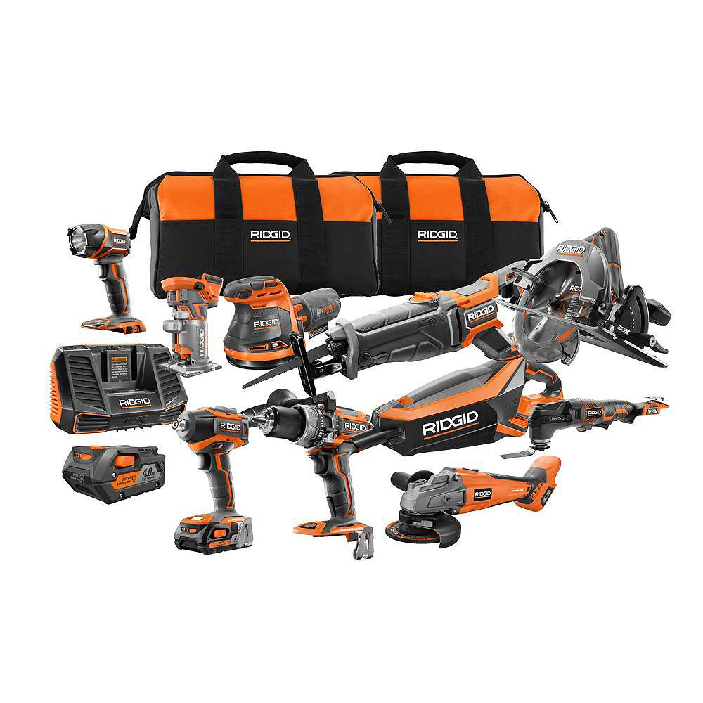 RIDGID 18V Cordless 10-Piece Combo Kit with (1) 4.0 Ah Battery and (1) 2.0 Ah Battery, Charger, and Bag