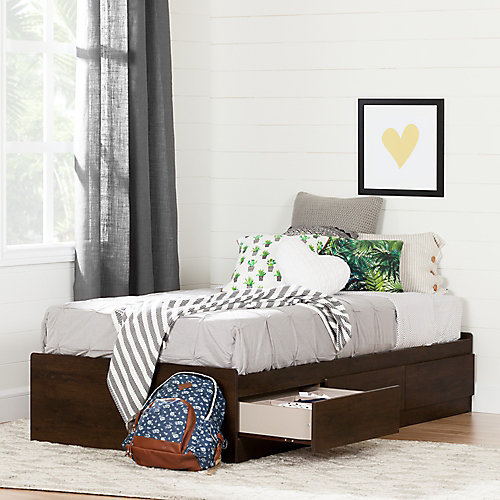 Fynn Twin Mates Bed (39'') with 3 Drawers, Brown Oak