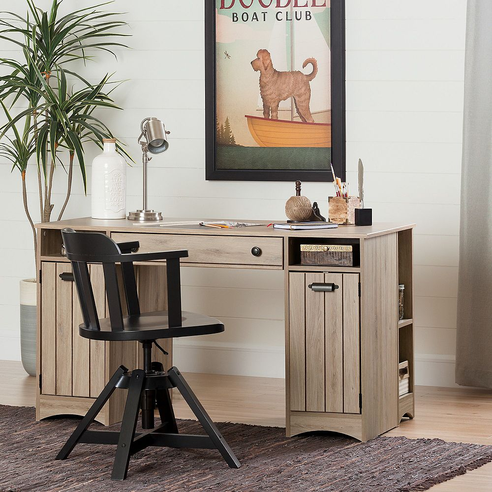 South Shore Artwork Craft Table With Storage Rustic Oak The Home Depot Canada