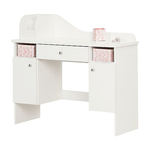 Vito Pure White Makeup Desk with Drawer