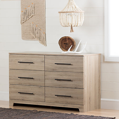 Primo 6-Drawer Double Dresser, Rustic Oak
