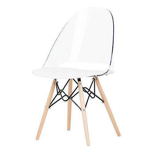Chaise de bureau style Eiffel Annexe, Transparente et blanche