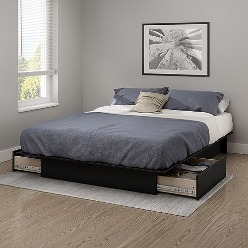 Gramercy Full/Queen Platform Bed (54/60'') with Drawers, Pure Black