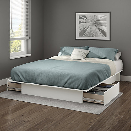 Gramercy Full/Queen Platform Bed (54/60'') with drawers, Pure White