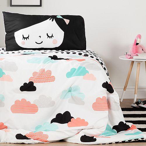 Douillette simple et taie d'oreiller réversibles Jardin de nuit DreamIt, Noir et Blanc