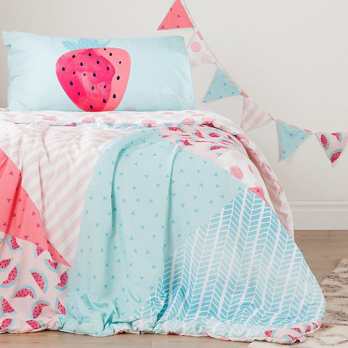 Douillette simple et taie d'oreiller réversibles avec guirlande de fanions Melons et petits pois