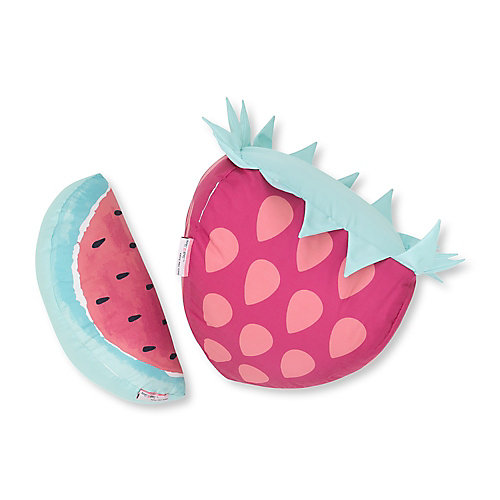 DreamIt Pink and Turquoise Strawberry & Watermelon Throw Pillows, (2-Pack)
