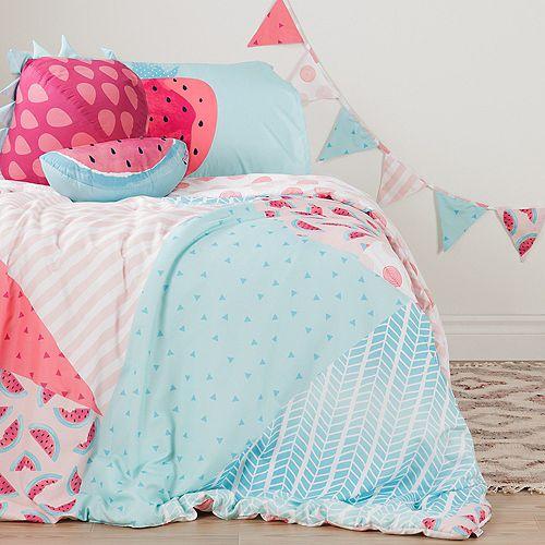 Ensemble douillette simple avec taie d'oreiller, coussins, guirlande de fanions Melons et  pois