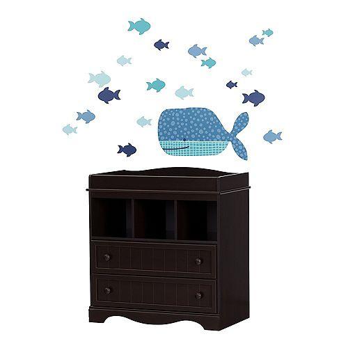 Table à langer avec autocollants muraux Petite baleine Savannah, Espresso et bleu