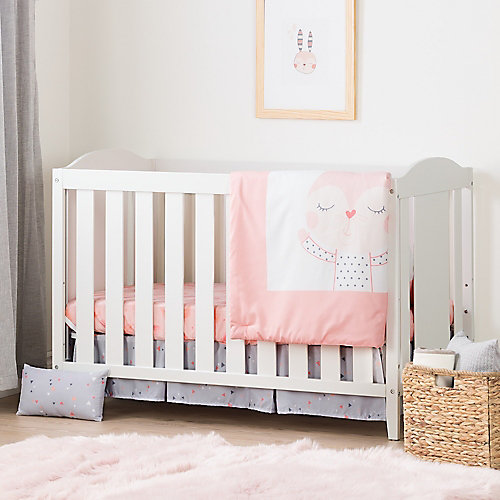 Angel Pure White and Pink Crib with Toddler Rail and Doudou the rabbit 4-Piece Bed Set