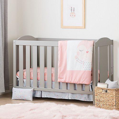 Lit de bébé avec barrière de transition et ensemble de literie pour bébé 4 pièces Doudou la lapine