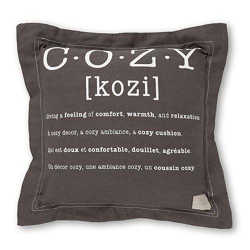 Coussin décoratif imprimé ''cozy'' Lodge, Gris