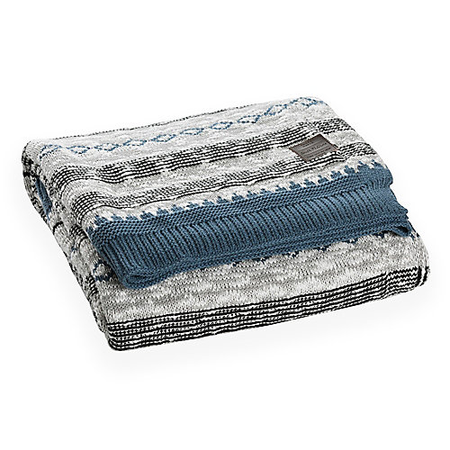 Lodge Blue and Gray Patterned Throw Blanket