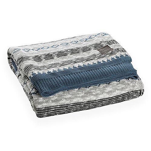 Jeté en tricot à motifs Lodge, Bleu et gris