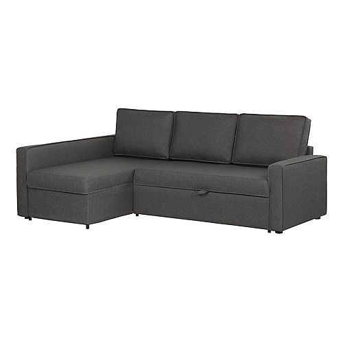 Live-it Cozy Sectional Sofa-Bed with Storage in Charcoal Gray