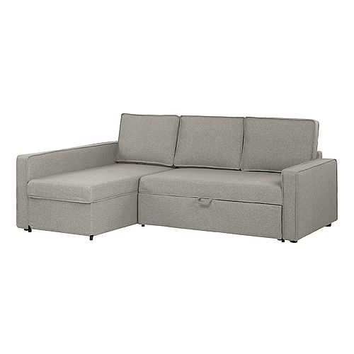 Live-it Cozy Sectional Sofa-Bed with Storage, Gray Fog
