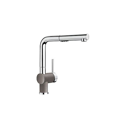 POSH, Low-arc Pull-out Kitchen Faucet, 2.2 GPM flow rate (Dual-spray), Chrome/Metallic Gray