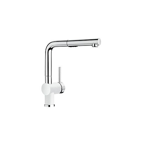 POSH, Low-arc Pull-out Kitchen Faucet, 2.2 GPM flow rate (Dual-spray), Chrome/White