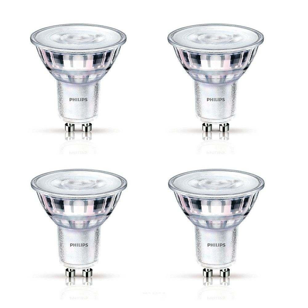 Philips 50W Equivalent Glass Bright White (3000K) GU10 LED Light Bulb  (4-Pack)