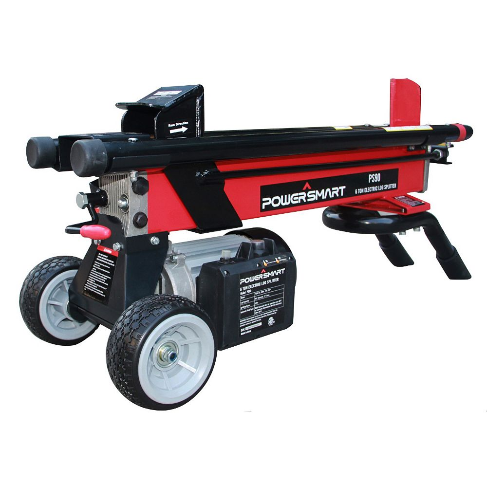 PowerSmart 6-Ton 15 amp Electric Log Splitter with 21-inch Length and 10-inch Dia. Capacity