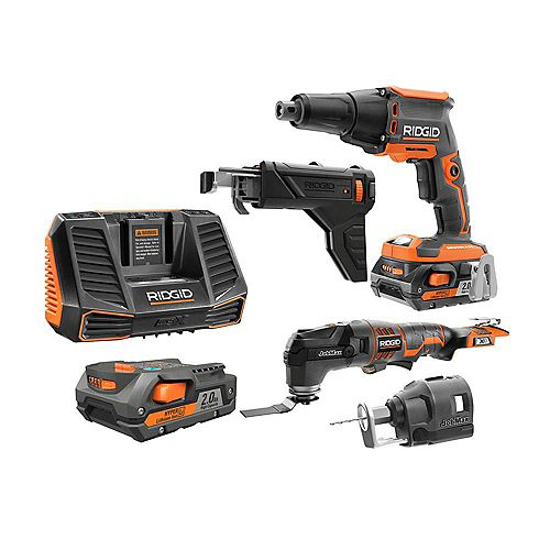 18V Drywall Installation Kit with (2) 2.0AH Batteries
