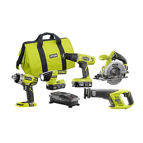 18V ONE+ Combo Kit w/ Drill, Circular Saw, Recip Saw, Impact Driver, (2) 1.3Ah Batteries and Bag