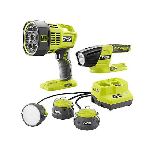 18V ONE+ Lithium-Ion Cordless 3-Tool Lighting Kit with Cable Lights, Spotlight, and LED Light (Tools Only)
