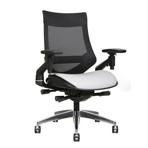 Chaise de bureau en maille à dossier central et siège en cuir collé