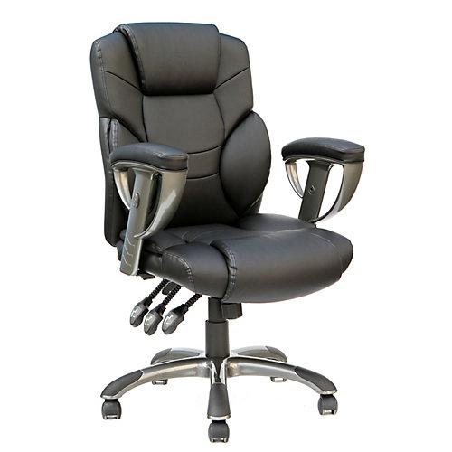 Chaise de bureau exécutive en cuir collé à dossier haut