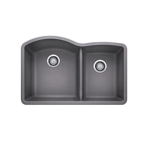 Blanco DIAMOND U 1.75, Offset Double Bowl Undermount Kitchen Sink, SILGRANIT Metallic Gray