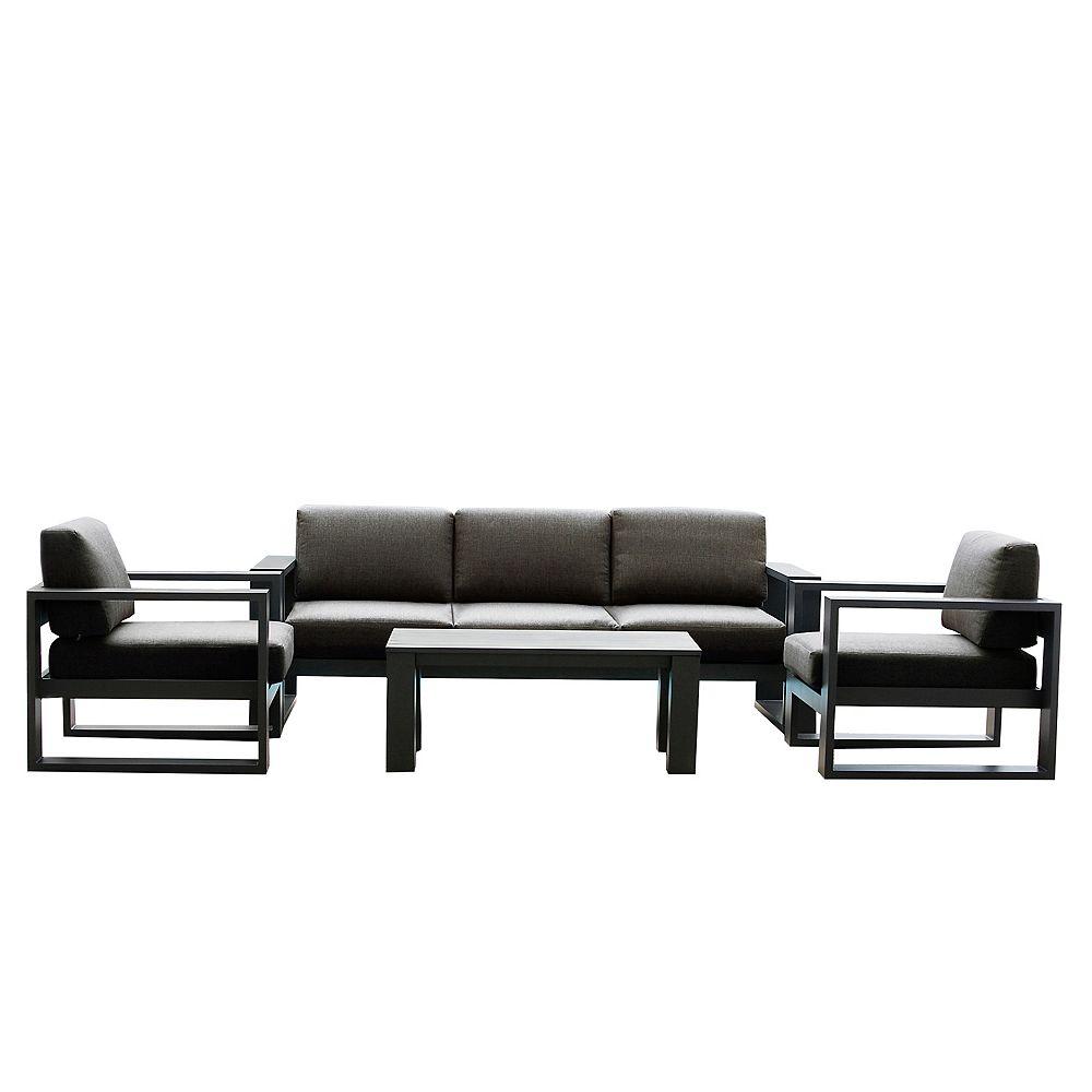 Patio Plus Cassara 4-Piece Aluminum Patio Lounge Set