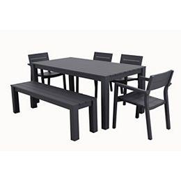 Ensemble de salle à manger de patio Cassara 6 pièces en aluminium avec banc en gris