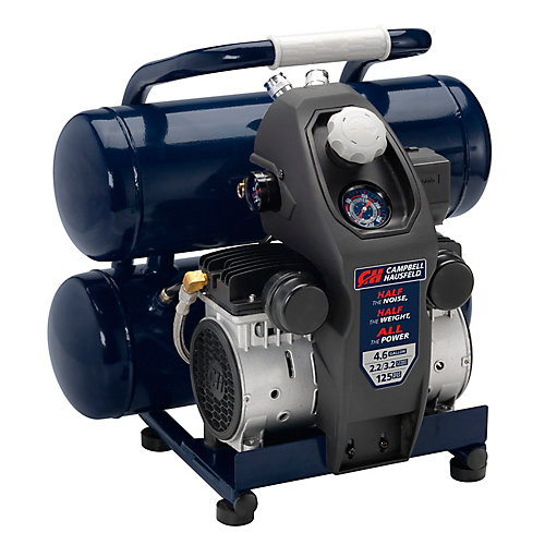 Compresseur d'air SILENCIEUX 17 L,  La moitié du bruit et du poids