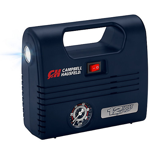 Portable 12 Volt Inflator, with LED Light, 100 PSI and Nozzles