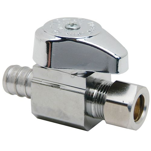 BrassCraft 1/2 inch Nom. Crimp PEX Barb Inlet x 3/8 inch O.D. Comp. Outlet Brass 1/4-Turn Straight Valve (3-Pack)