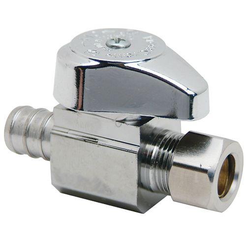 1/2 inch Nom. Crimp PEX Barb Inlet x 3/8 inch O.D. Comp. Outlet Brass 1/4-Turn Straight Valve (3-Pack)