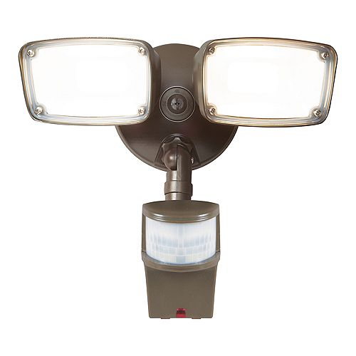 Halo Bronze LED Motion Activated Twin Head Floodlight with Selectable Colour Temperature