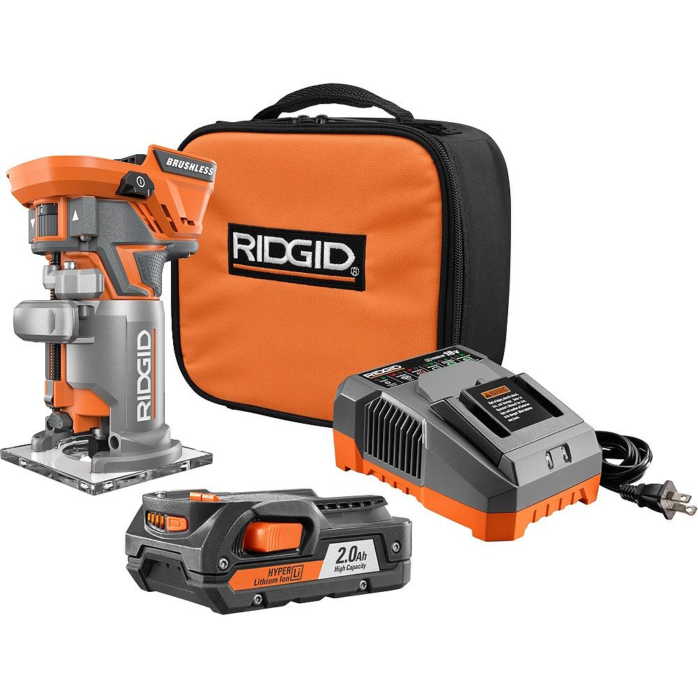RIDGID 18V GEN5X Li-Ion Brushless Cordless Compact Router Kit with (1) 2.0Ah Battery and Charger